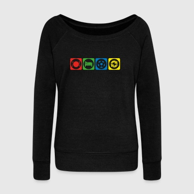 geschenk eat sleep repeat fussball ultras stuermer - Women's Wideneck Sweatshirt