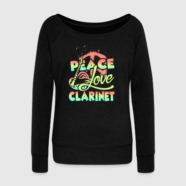 PEACE LOVE CLARINET SHIRT - Women's Wideneck Sweatshirt