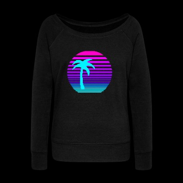 Aesthetic Sun & Palm - Women's Wideneck Sweatshirt