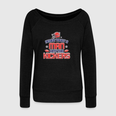 WITH TWO KICKERS - Women's Wideneck Sweatshirt