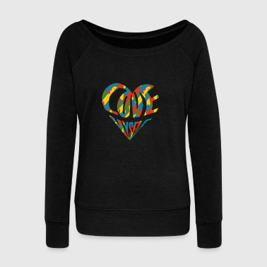 Colorful Vintage Cute Heart Love Myself Pop Art - Women's Wideneck Sweatshirt