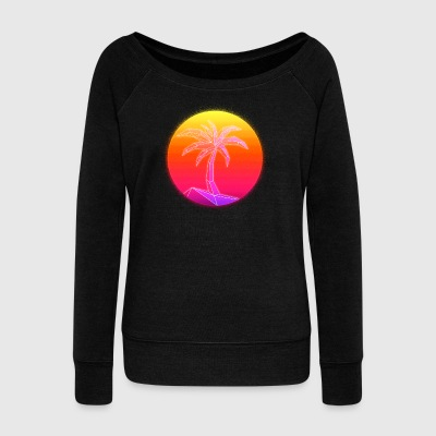 Sunset Palmtree, 80's Style - Women's Wideneck Sweatshirt