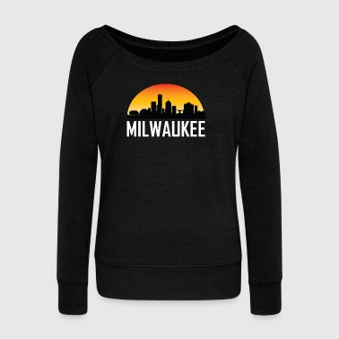 Sunset Skyline Silhouette of Milwaukee WI - Women's Wideneck Sweatshirt