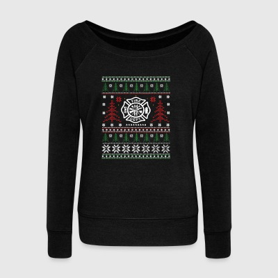 Firefighter Ugly Christmas Sweater Gift - Women's Wideneck Sweatshirt