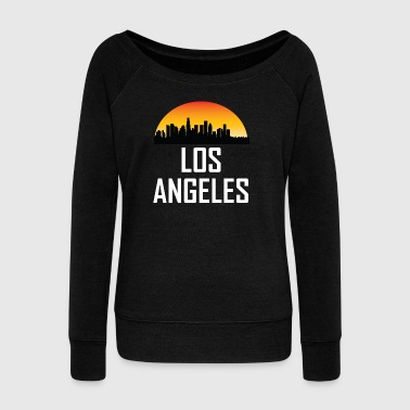 Sunset Skyline Silhouette of Los Angeles CA - Women's Wideneck Sweatshirt