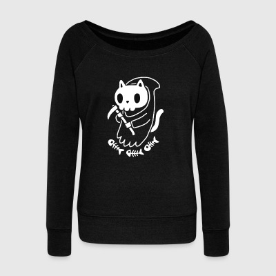 Reaper Cat Funny - Women's Wideneck Sweatshirt