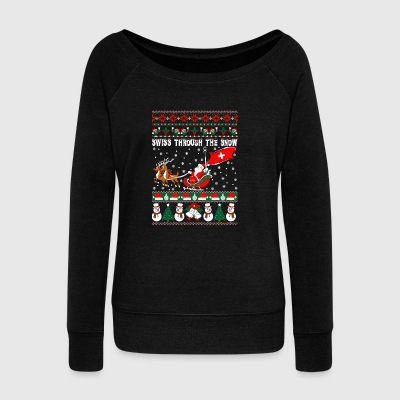 Swiss Through The Snow Ugly Christmas Sweater - Women's Wideneck Sweatshirt