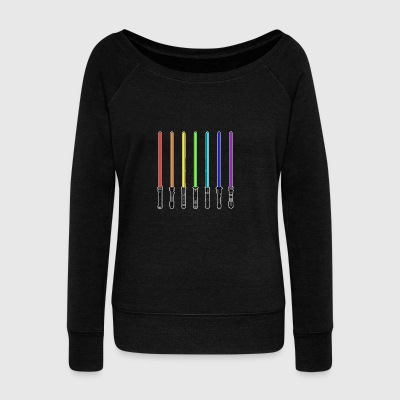 What Color is Your LightSaber Star Wars Rainbow - Women's Wideneck Sweatshirt