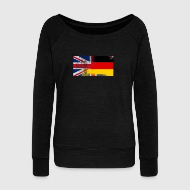 British German Half Germany Half UK Flag - Women's Wideneck Sweatshirt