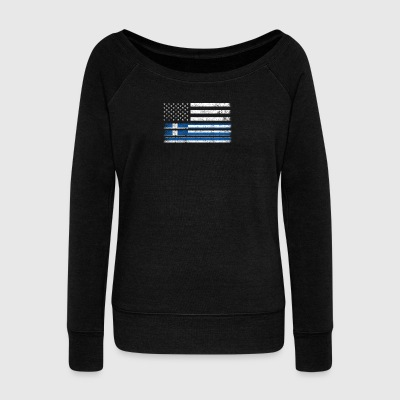 Greek American Flag - USA Greece Shirt - Women's Wideneck Sweatshirt