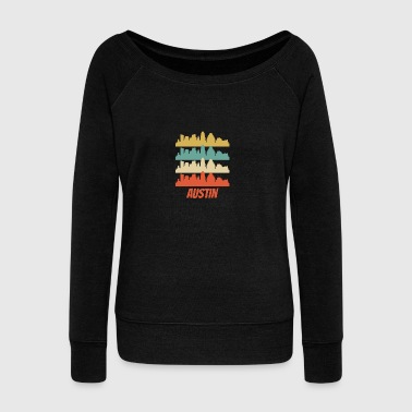 Retro Austin TX Skyline Pop Art - Women's Wideneck Sweatshirt