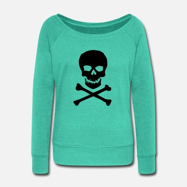 Crossbones Skull and crossbones - Women's Wide-Neck Sweatshirt