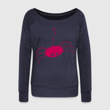 Cute Halloween Spider on silky thread - Women's Wideneck Sweatshirt