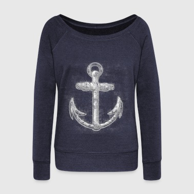 Vintage Nautical Anchor - Women's Wideneck Sweatshirt