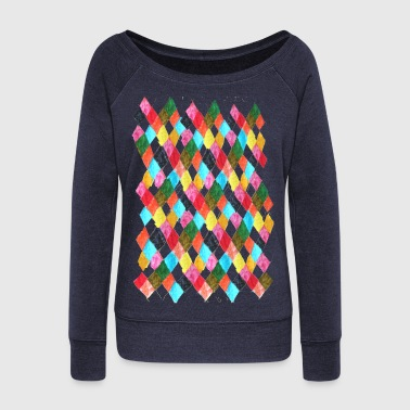 Harlequin multi color Harlequin checkered print - Women's Wideneck Sweatshirt