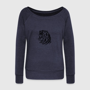 Tribal Tiger Head - Women's Wideneck Sweatshirt