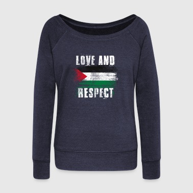 Love and Respect Palestine Flag Palestinian Pride T Shirt - Women's Wideneck Sweatshirt