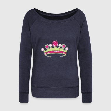 Majesty crown tiara jewel colors coronet gift idea - Women's Wideneck Sweatshirt