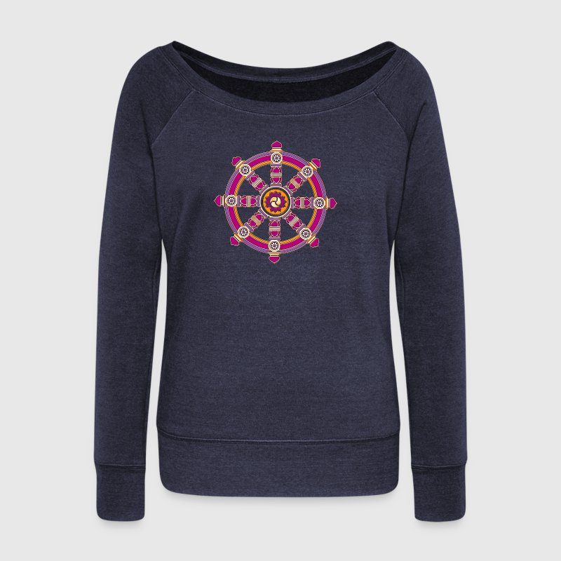 Dharma Wheel of Fortune, Buddhism, Chakra - Women's Wideneck Sweatshirt