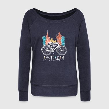 Amsterdam Retro Amsterdam City - Netherlands Bicycle Bike - Women's Wideneck Sweatshirt