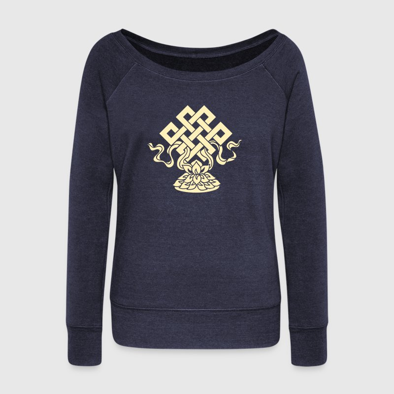 Eternal Knot, Endless, Lotus, Tibetan Buddhism, - Women's Wideneck Sweatshirt