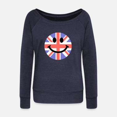 Red Face &amp British Flag Smiley Face - Women's Wide-Neck Sweatshirt