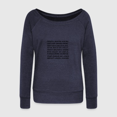 Inspiration Square of inspiring and meaning words - Women's Wideneck Sweatshirt