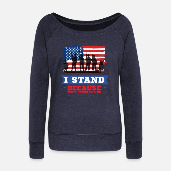 Veterans Day Hoodies & Sweatshirts - Veterans Day - Women's Wide-Neck Sweatshirt melange navy