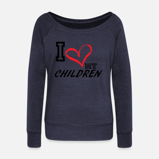 Plus Hoodies & Sweatshirts - I_LOVE_MY_CHILDREN - PLUS SIZE FIT - Women's Wide-Neck Sweatshirt melange navy