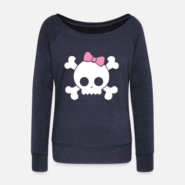 Cute Skull skull cute - Women's Wide-Neck Sweatshirt