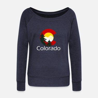 Colorado Native Colorado C Trees - Women's Wide-Neck Sweatshirt