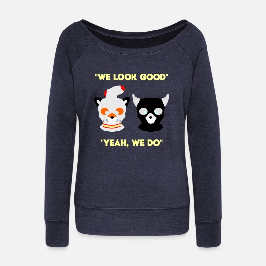 Look Good Hoodies & Sweatshirts - We Look Good - Women's Wide-Neck Sweatshirt melange navy