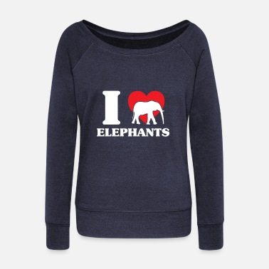 Peanut Elephant heat flock water family - Women's Wideneck Sweatshirt
