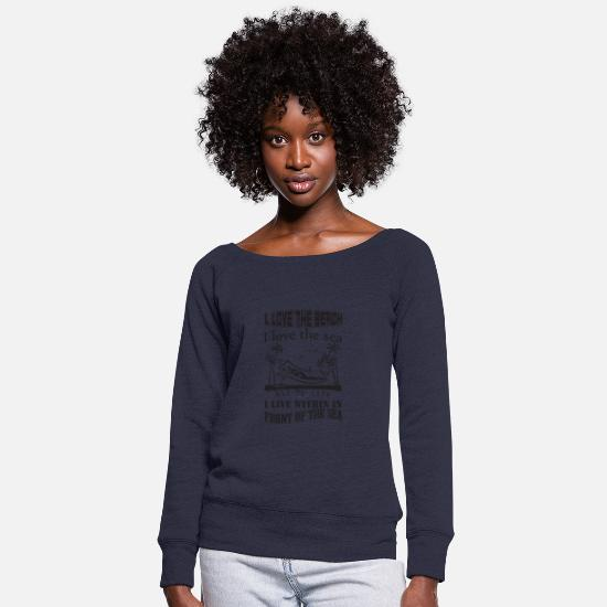 Wife Hoodies & Sweatshirts - sea - Women's Wide-Neck Sweatshirt melange navy