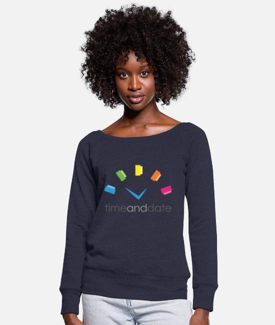 Hipster Hoodies & Sweatshirts - Time and Date - Women's Wide-Neck Sweatshirt melange navy