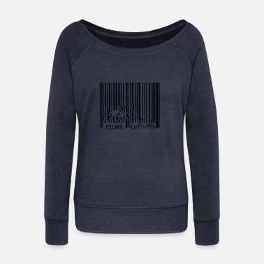 Ilustration Run Escape Barcode Ilustration - Women's Wide-Neck Sweatshirt