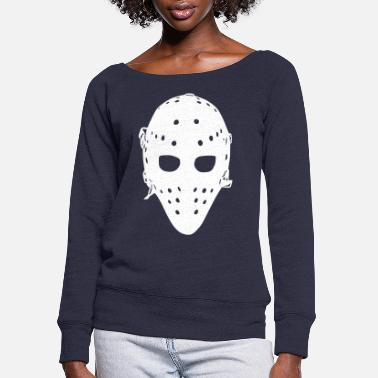 Hockey Goalie Vintage Hockey Goalie Mask - Women's Wide-Neck Sweatshirt