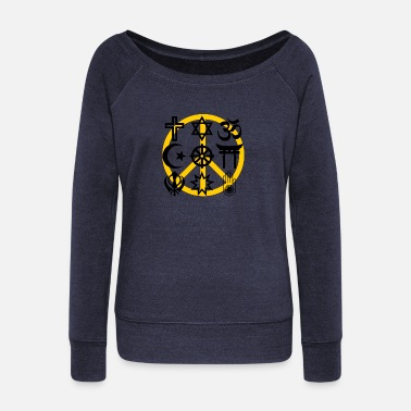 Sikhism World religions with peace symbol - Women's Wideneck Sweatshirt