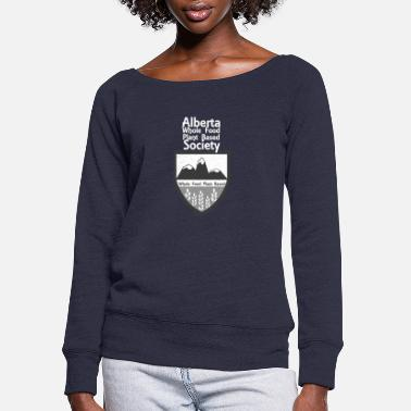 Alberta WFPB Society Logo with White Text - Women's Wide-Neck Sweatshirt