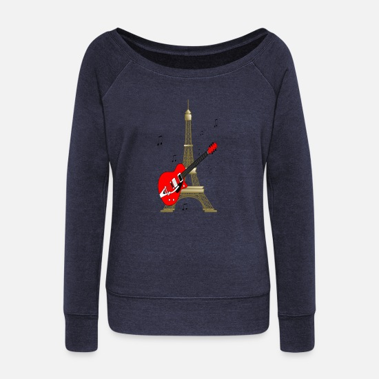 Tower Hoodies & Sweatshirts - eiffel tower - Women's Wide-Neck Sweatshirt melange navy