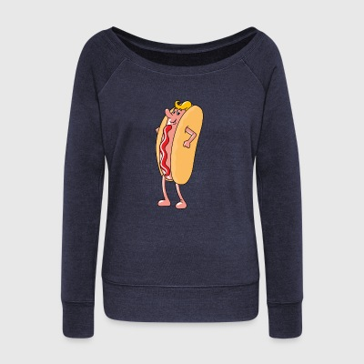 hotdog hot dog sausages fast food fastfood14 - Women's Wideneck Sweatshirt