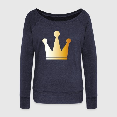 King prince gold VIP crovn cool lable vector image - Women's Wideneck Sweatshirt