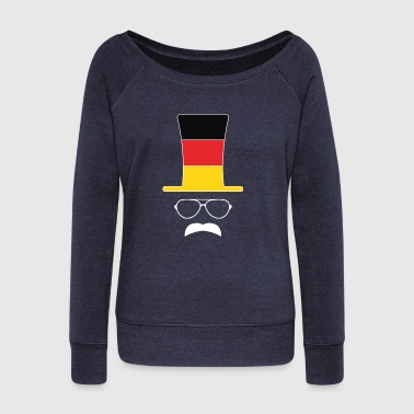 German Flag Football hipster fan - Women's Wideneck Sweatshirt