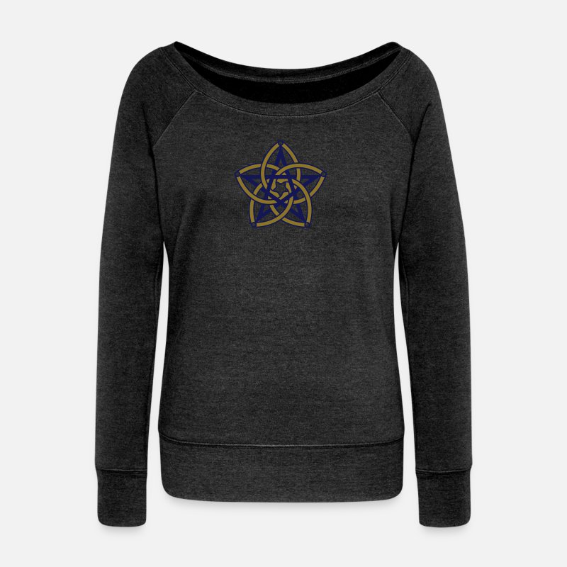Energy Symbol Character Hoodies & Sweatshirts - Pentagram & Venus Flower - Protection & Balance / - Women's Wide-Neck Sweatshirt heather black