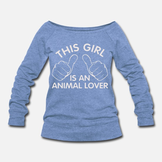 Animal Hoodies & Sweatshirts - animal lover - Women's Wide-Neck Sweatshirt heather Blue