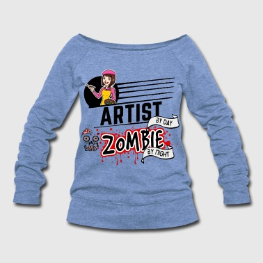 Female Artist - Zombie by night - Women's Wideneck Sweatshirt