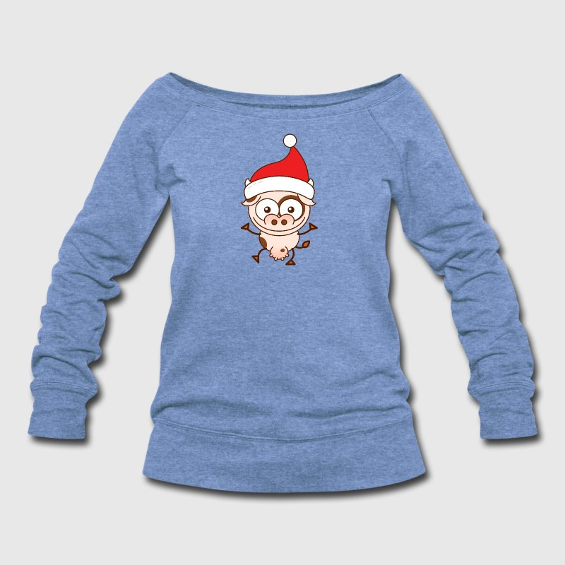 Christmas cow wearing Santa hat - Women's Wideneck Sweatshirt
