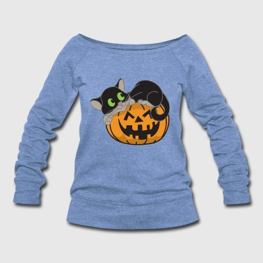 Halloween Pumpkin Monster Zombie Horror - Women's Wideneck Sweatshirt