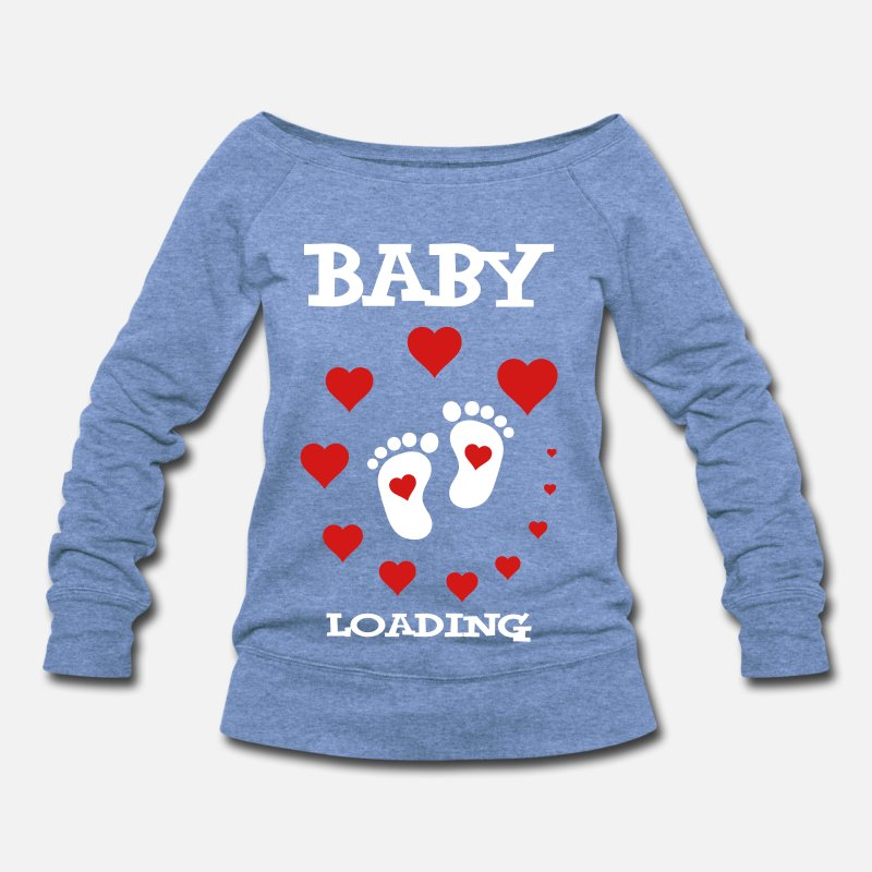 Baby Hoodies & Sweatshirts - Baby Loading... - Women's Wide-Neck Sweatshirt heather Blue