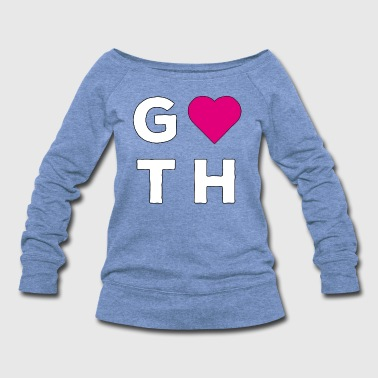 666 Goth Love Sign Heart Pink - Women's Wideneck Sweatshirt